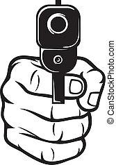 Hand mit Waffe (Pistole), Waffe gerichtet