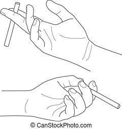 Hand mit Zigarette, Vektorgrafik.