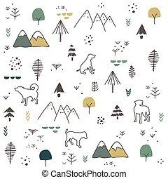 hand, muster, gezeichnet, hunden, berg