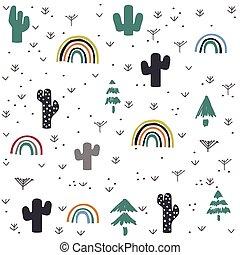 hand, muster, kaktus, regenbogen, gezeichnet