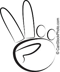 hand-peace, logo, symbol, vektor