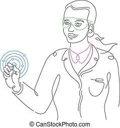 hand, physiker, m�dchen, neu , element, wissenschaftler, atom, frau, hält, model.