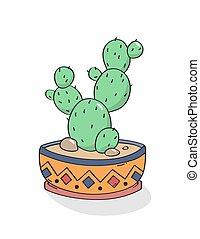 hand, print., kaktus, vector., gezeichnet