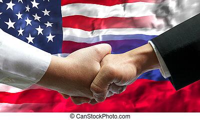 hand, russland, amerika, aus, geschäftsmann, schütteln, staaten, flag., vereint