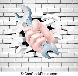 Hand-Spanner-Konzept.
