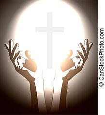 Hand und Christian Cross Silhouette