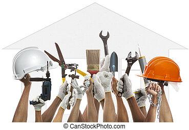Hand- und Hausarbeitswerkzeug gegen Hausmuster Backgroud Einsatz f.