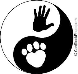 HAND UND PAW YIN Yang.