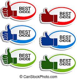 hand, vektor, am besten, oval, wahlmöglichkeit, aufkleber, gebärde