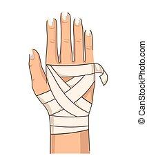hand, verbindend, handgelenk, verband, hilfe, verletzung, zuerst