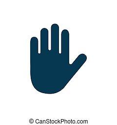 hand, weißes, vektor, hintergrund, freigestellt, ikone