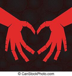 Hand wie Herz auf nahtlosem Hintergrund.
