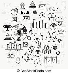 Hand zeichnen doodle Elemente Business Scetches Concept infographic finance analytics Lernen Fortschritt Führung.