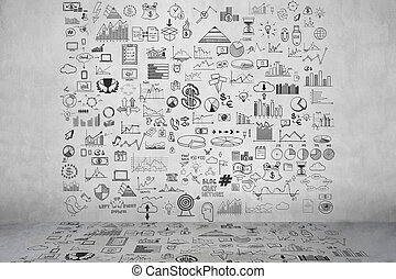 Hand zeichnen Doodle-Elemente Geld und Münz-Icon, Diagramm auf der grauen Betonwand. Concept Bank Business Finance Analytics Einkommen