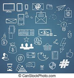 Hand zeichnen soziale Medienzeichen und Symbol Doodles Elemente. Konzeptton, Haschtag, Internet-Kommunikation