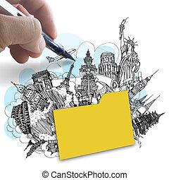 Hand zeichnet Ordner von Traumreisen um die Welt als Erfolgskonzept