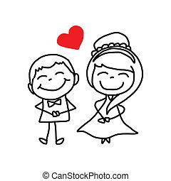 Hand zeichnet Zeichentrickfiguren-Hochzeit