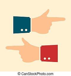 hand, zeigt, finger, vektor, ikone