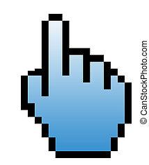 hand, zeigt, ikone