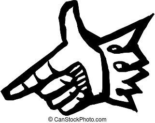 Hand zeigt mit dem Finger auf Illustration