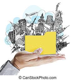 Hand zeigt Ordner von Traumreisen