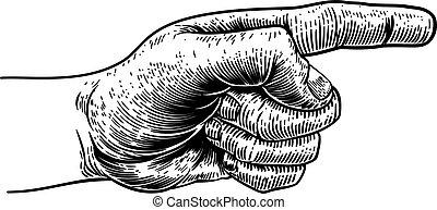 Hand zeigt Richtung Finger gravieren Holzschnitt