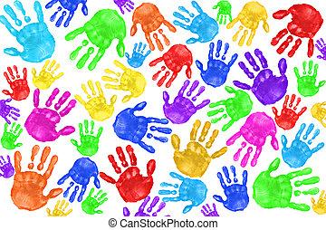 Handabdrucke von Kindern