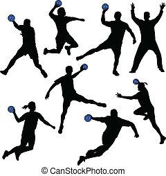 Handballspieler spielen Silhouettes