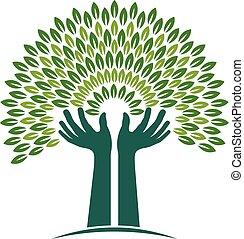 Handbaum des Glaubenslogos. Vektorgrafik