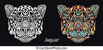 Handbekleidete Jaguar mit ethnischen Doodle-Muster. Farbseite - zendala, Design für spirituelle Entspannung für Erwachsene, Vektorgrafik, isolierten Hintergrund.
