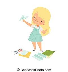 handcrafted, abbildung, kleines mädchen, eben, vektor, papier, ausstellung
