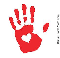 Handdruck mit Herz-Ikone.