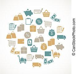 Handel und Einzelhandels-Ikonen