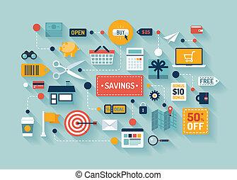 Handel und Ersparnisse flache Illustration