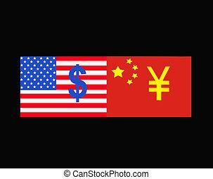 handeln, currenct, staaten, symbol, amerika, zwischen, porzellan, vereint, kriegsbilder