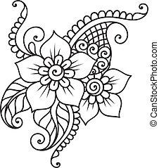 Handgekleidete abstrakte henna mehndi Blumenschmuck
