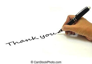 Handgeschrieben, danke mit Stift