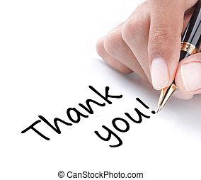 Handgeschrieben, danke
