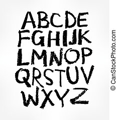 Handgeschriebenes Alphabet, Tintenhandbuch.