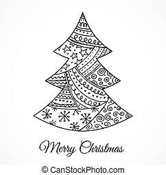 Handgezeichnet süßer Weihnachtsbaum mit Doodles