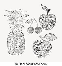 Handgezeichnete Doodle-Sets von Früchten für das Farbbuch.
