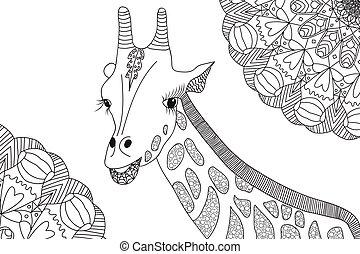 Handgezeichnete Giraffe Illustration für Farbbuch