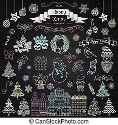 Handgezeichnete Künstlerische Weihnachtsdoodle-Icons auf Kreidetafel Textur