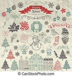 Handgezeichnete Kunstweihnachts-Doodle-Icons auf Krempelpapier