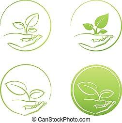 Handholdpflanze, Logowachstumskonzept Vektorsatz.