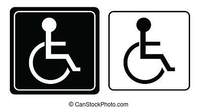 Handicap oder Rollstuhl-Symbol, Vektor.