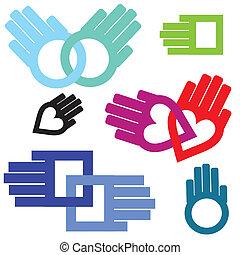 Handpaare in Herz, Kreis, Quadratkette. Unterstützung in der Liebe.