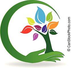 Handpflege einen Baumsymbol-Logo-Vektor.