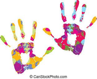 handprint., vektor, abbildung