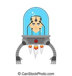 hands., cyborg, kopf, robotic, künstlich, technologie, gehirn, roboter, menschliche , intelligenz, future., eisen, organs., mann